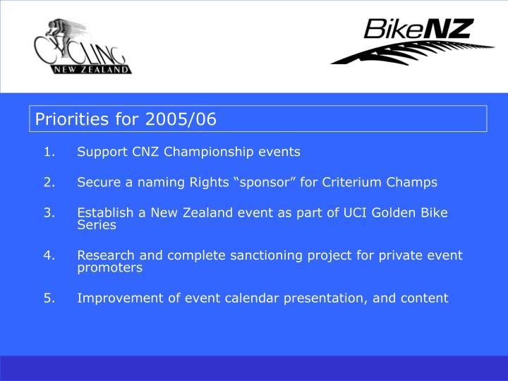 Priorities for 2005/06