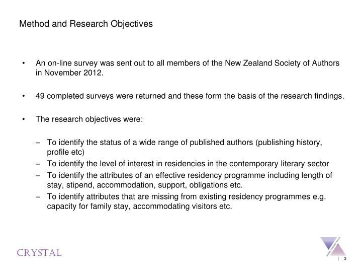 Method and Research Objectives