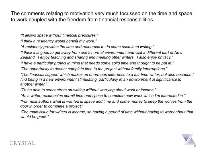 The comments relating to motivation very much focussed on the time and space to work coupled with the freedom from financial responsibilities.