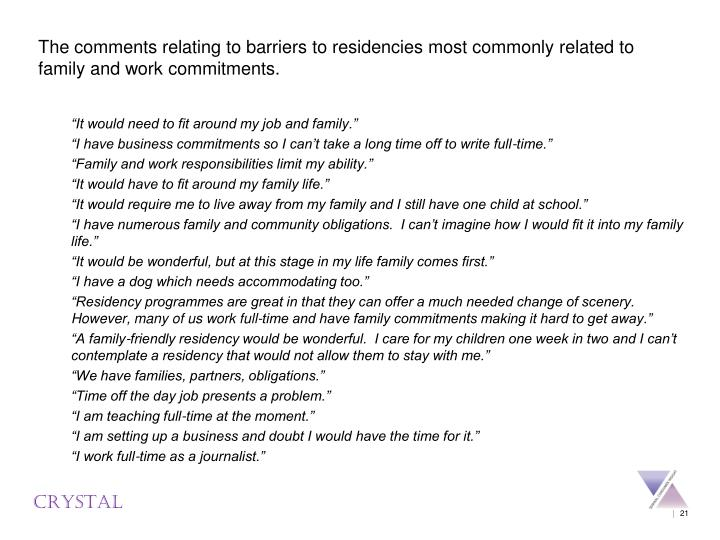 The comments relating to barriers to residencies most commonly related to family and work commitments.