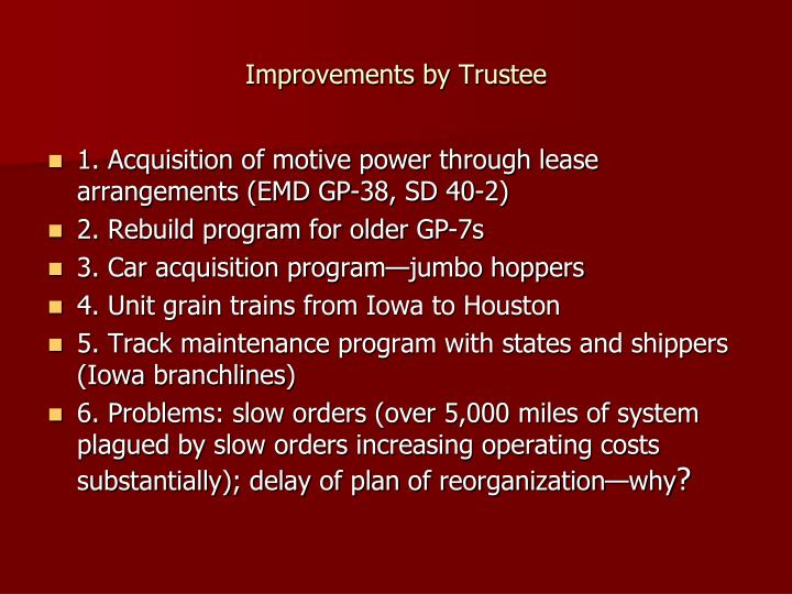 Improvements by Trustee