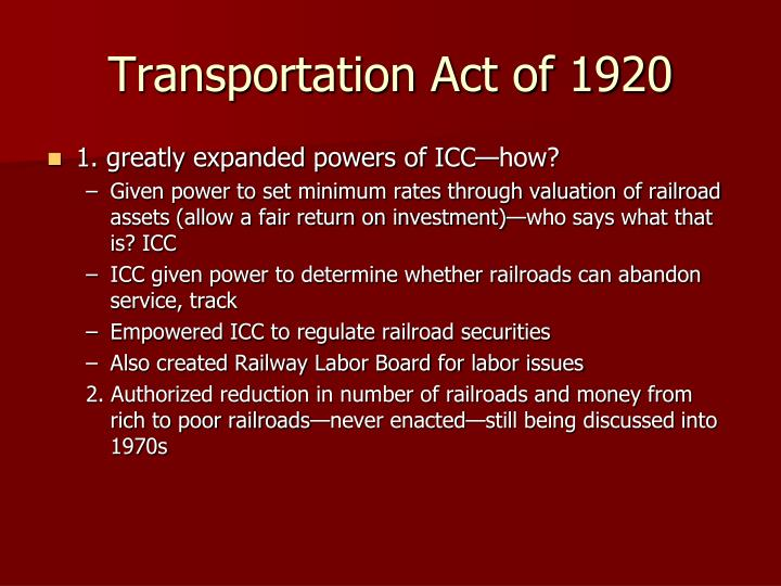 Transportation Act of 1920