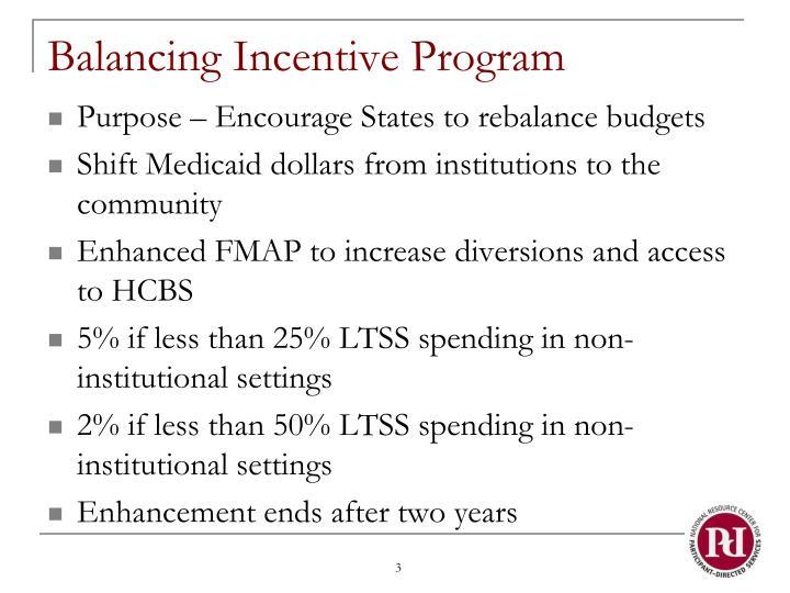 Balancing Incentive Program