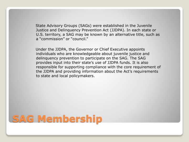 """State Advisory Groups (SAGs) were established in the Juvenile Justice and Delinquency Prevention Act (JJDPA). In each state or U.S. territory, a SAG may be known by an alternative title, such as a """"commission"""" or """"council."""""""