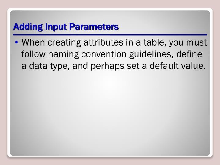 Adding Input Parameters