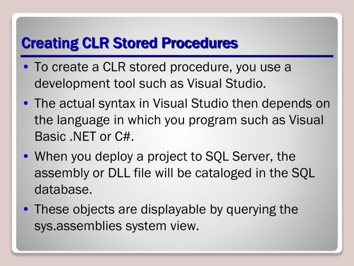 Creating CLR Stored Procedures