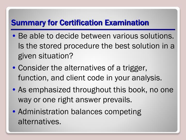 Summary for Certification Examination