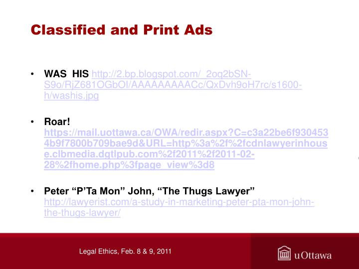 Classified and Print Ads