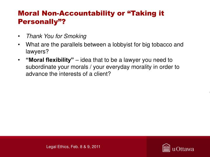 """Moral Non-Accountability or """"Taking it Personally""""?"""