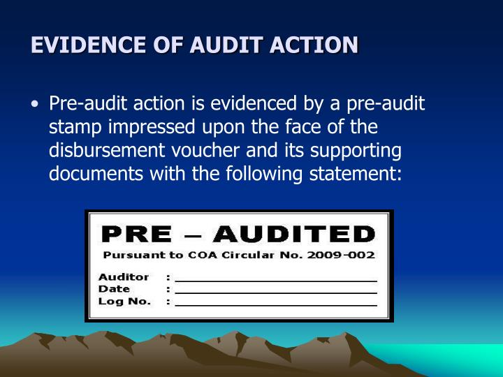 EVIDENCE OF AUDIT ACTION