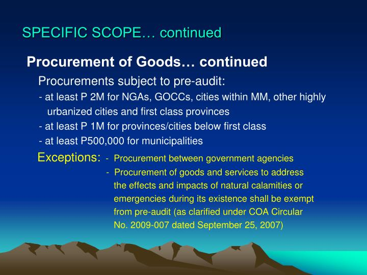 SPECIFIC SCOPE… continued