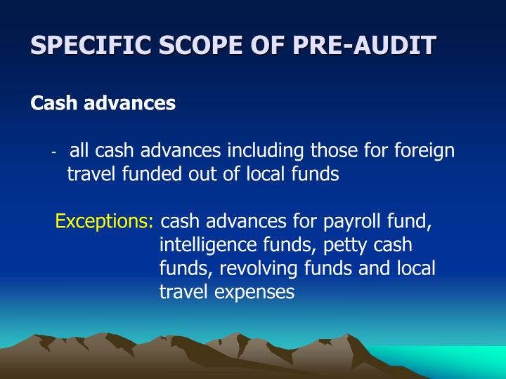 SPECIFIC SCOPE OF PRE-AUDIT