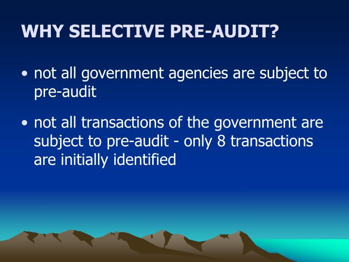 WHY SELECTIVE PRE-AUDIT?