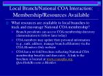 local branch national coa interaction membership resources available