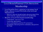 local branch national coa interaction membership