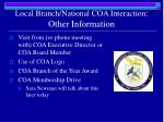 local branch national coa interaction other information