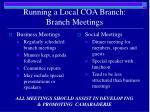 running a local coa branch branch meetings
