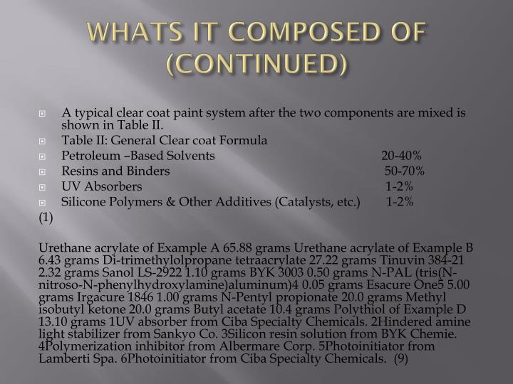 WHATS IT COMPOSED OF (CONTINUED)