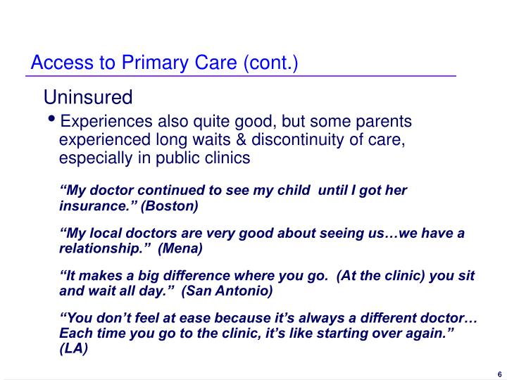 Access to Primary Care (cont.)