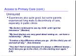access to primary care cont