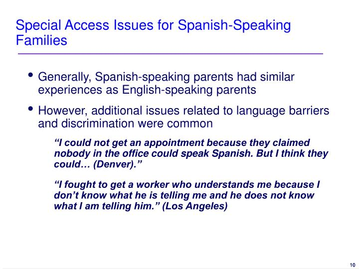Special Access Issues for Spanish-Speaking Families