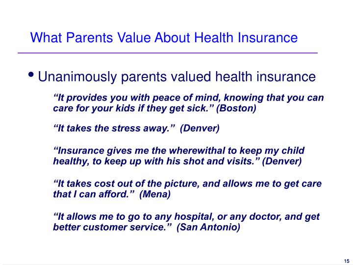 What Parents Value About Health Insurance