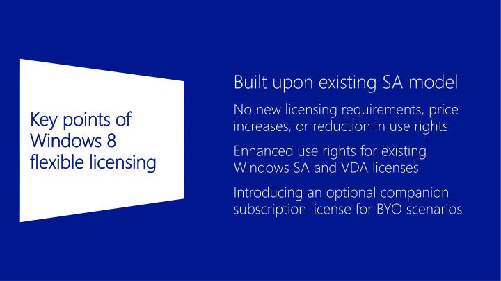 Key points of Windows 8 flexible licensing