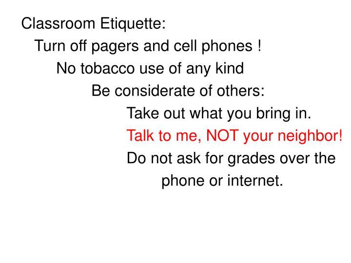 Classroom Etiquette: