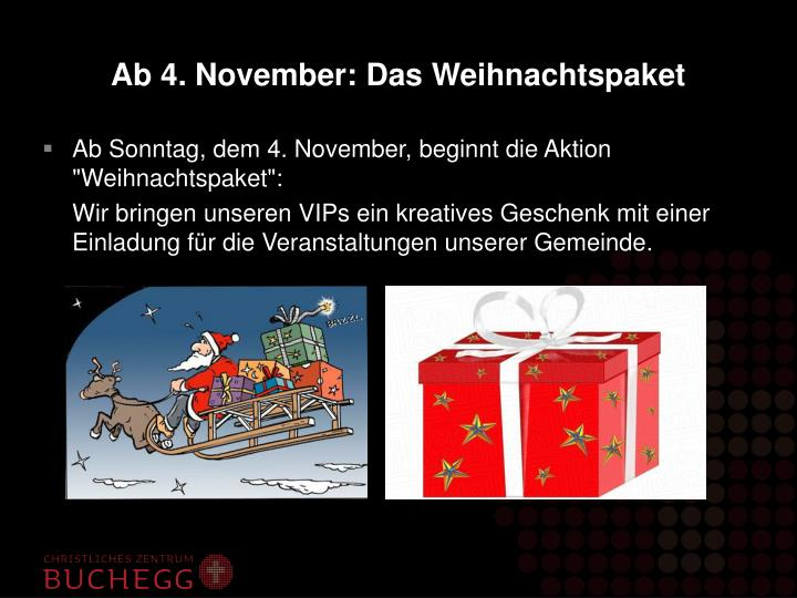 Ab 4. November: Das Weihnachtspaket