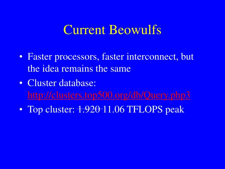 Current Beowulfs
