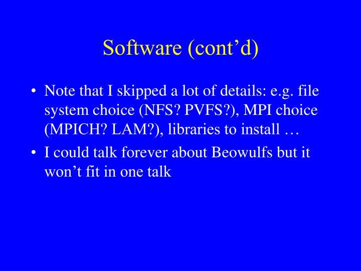 Software (cont'd)