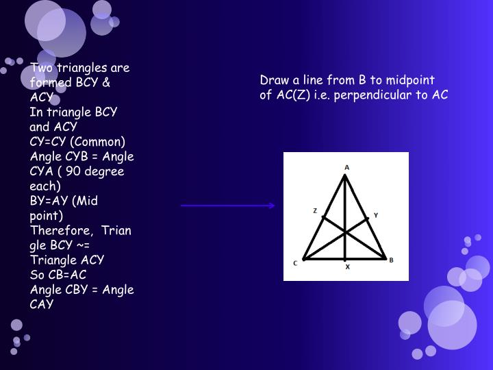 Two triangles are formed BCY & ACY