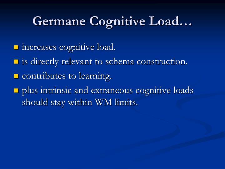 Germane Cognitive Load…