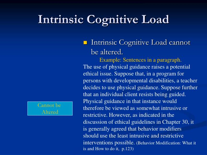 Intrinsic Cognitive Load
