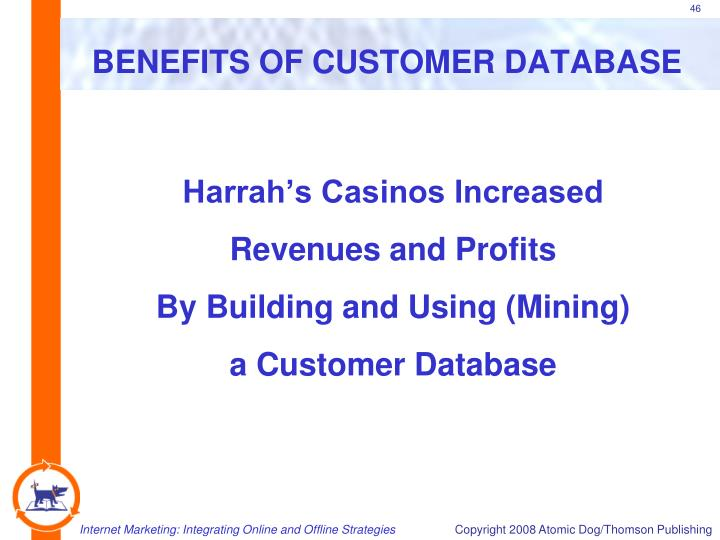 BENEFITS OF CUSTOMER DATABASE