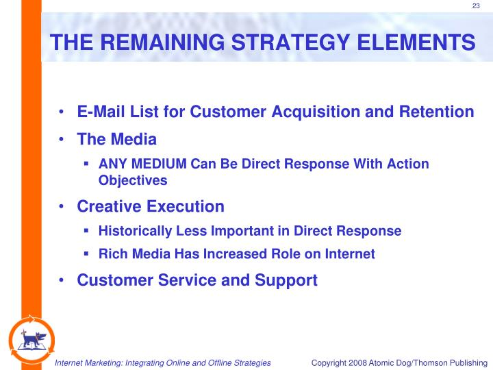 THE REMAINING STRATEGY ELEMENTS