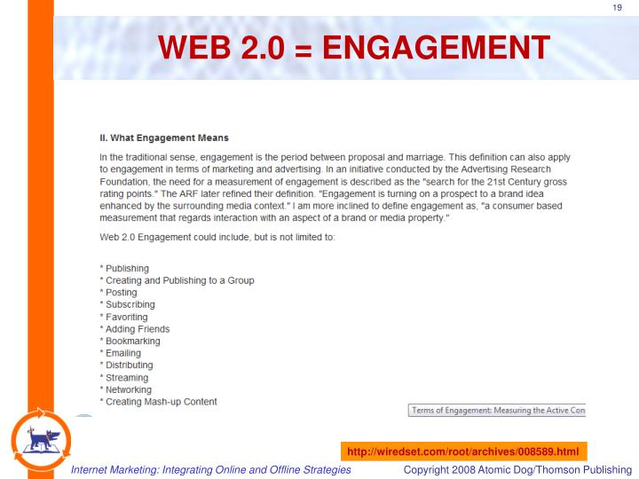 WEB 2.0 = ENGAGEMENT