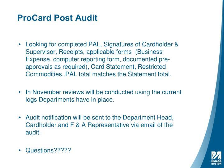 ProCard Post Audit