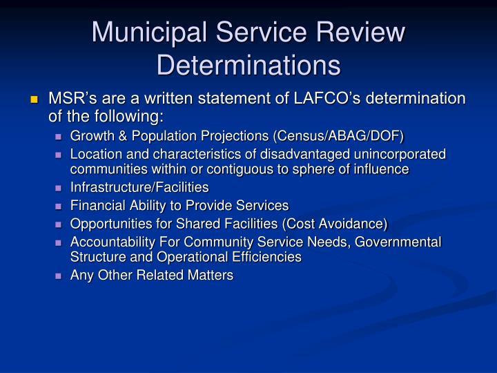 Municipal Service Review