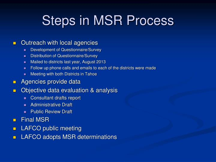 Steps in MSR Process
