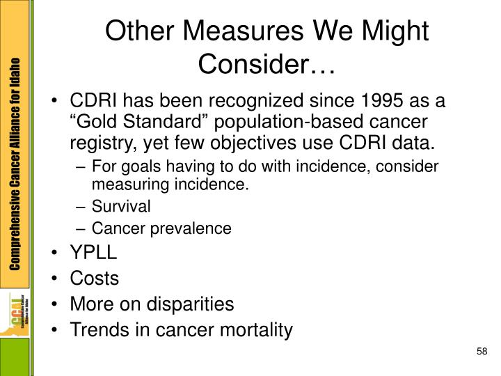 Other Measures We Might Consider…