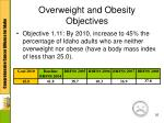 overweight and obesity objectives