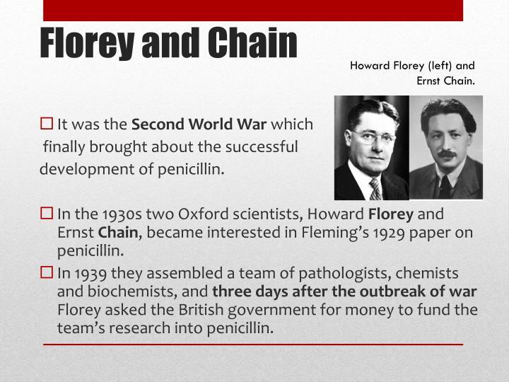 Howard Florey (left) and Ernst Chain.