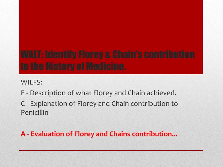walt identify florey chain s contribution to the history of medicine