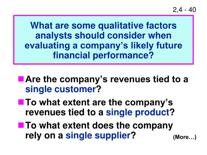 What are some qualitative factors analysts should consider when evaluating a company's likely future financial performance?