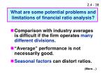 what are some potential problems and limitations of financial ratio analysis