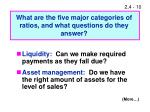 what are the five major categories of ratios and what questions do they answer
