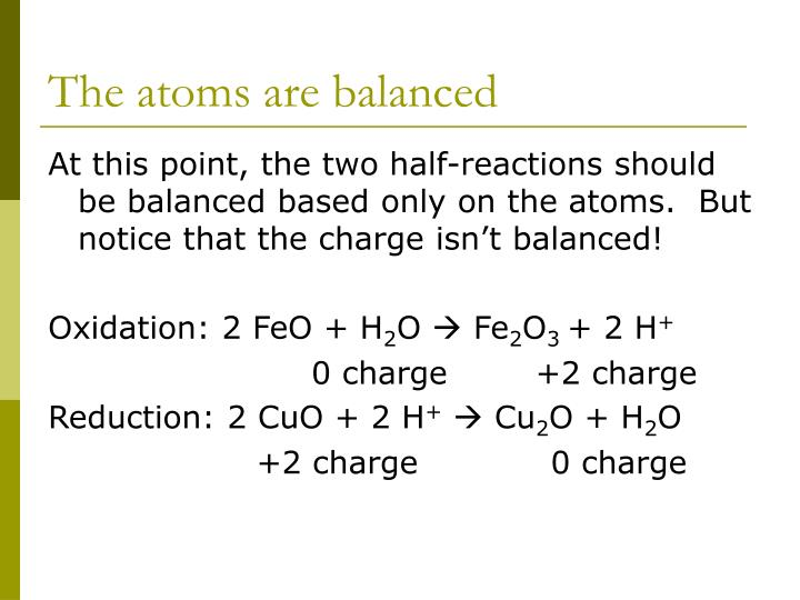 The atoms are balanced