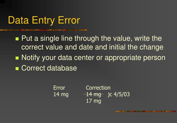Data Entry Error