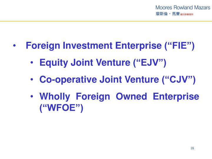 "Foreign Investment Enterprise (""FIE"")"